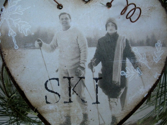 Fetching Vintage Couple Snow Skiing - Rusty Tin Heart - Vintage Ski Ornament - Ski Wedding - Ski - Valentine - Vintage Ski Photo