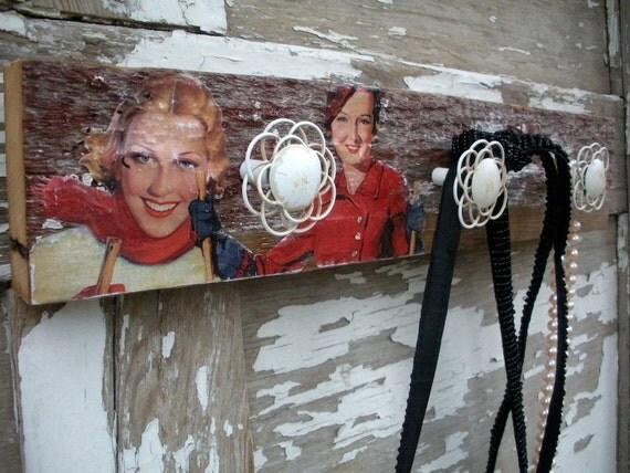 Shabby Chic Rack  Reclaimed Old Barn Wood  Vintage Ski Decor