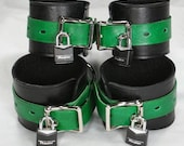 Green and Black Leather Cuffs