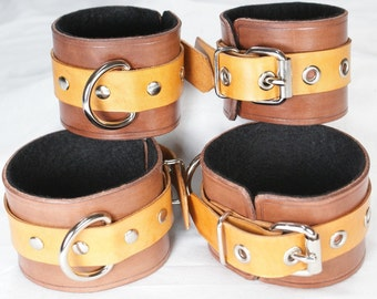Tan And Brown Leather Cuffs