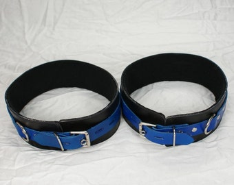 Blue and Black Leather Thigh Cuffs