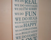 Shabby chic in this house we do typography sign plaque...teal