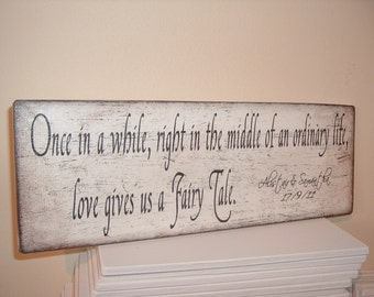 Fairytale plaque/sign, distressed wedding/couples plaque/sign