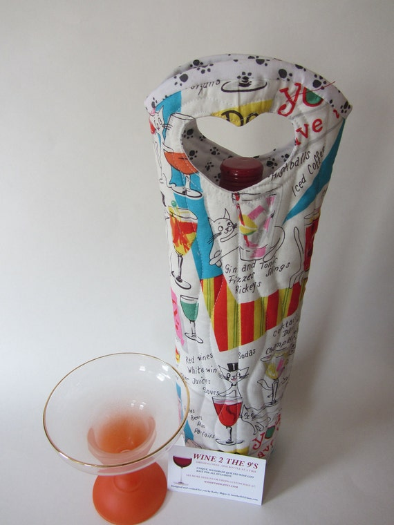Wine bottle gift tote bag / wine cozy 'KITTY COCKTAILS'
