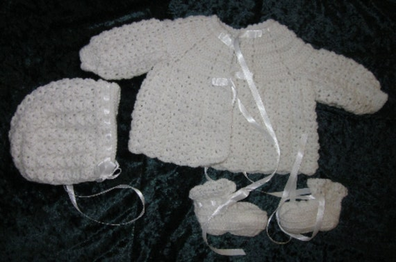 Baby Sweater Set, made from vintage pattern.