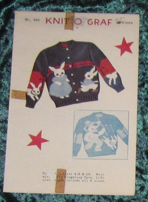 Knit O Graf  No. 945  Peter Cotton Tail size 4 - 6 - 8 -10