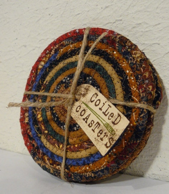 Scrappy Fabric Coiled Coasters... Set of 4 Coasters