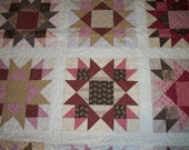 FREE SHIPPING---Civil War Union Star Quilt in Browns and Pinks