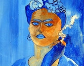 Frida Kahlo Blue Dreamy Girl Cigarette in Hand Original