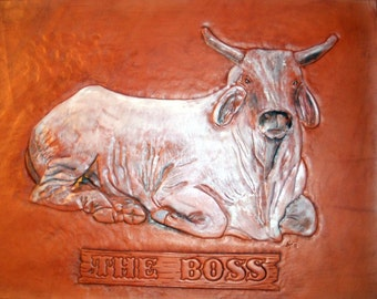 THE BOSS Brahma Bull Leather Carving Tooled Leather