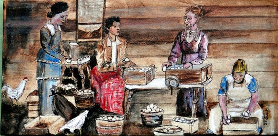 Aunt Rhody Explains the Egg Business to Selkirk's New Wife Original Acrylic Painting 8x16