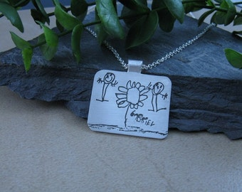 Child's Drawing On Fine Silver With Bail and Chain Options...Made to Order