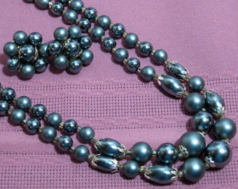 The Perfect 2 Strand Charcoal  Necklace 1960s NEW OLD STOCK