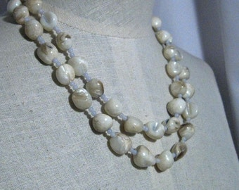 Mother of Pearl Chunky Blue 2 Strand  Necklace 1960s NEW OLD STOCK