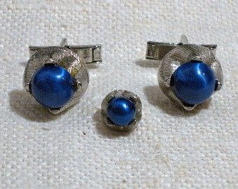 Men's Vintage Blue Cuff Link and Tie Tac Set 1960s NEW OLD STOCK...csc142
