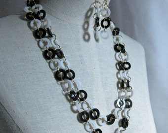 Vintage Black and White Necklace of Circles Set 1960's NEW OLD STOCK