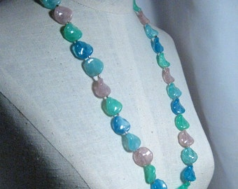 30 Inch Acrylic Petal Turquoise Green and Pink Necklace Set  1960's NEW OLD STOCK...csc116