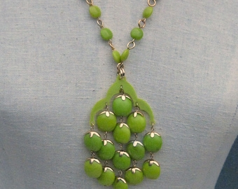 Vintage Lime Greens Large Vibrant Pendant Necklace 1960's NEW OLD STOCK
