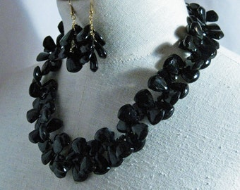 Vintage Shiny Black  Lucite Necklace set 1960s NEW OLD STOCK