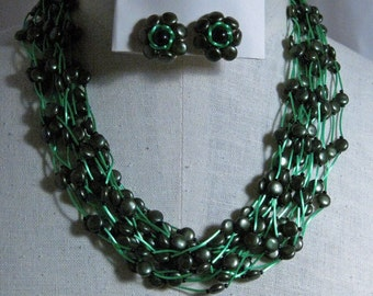 Vintage  18 Strands of Charcoal  and Green Elegance Necklace Set 1960's NEW OLD STOCK...*