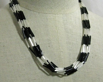 Thin Glass Beads Black and White Necklace  1960s NEW OLD STOCK