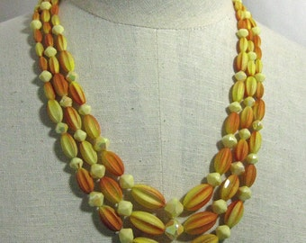 Oranges and Yellows 3 Strand Groovy Necklace Set  1960s  NEW OLD STOCK