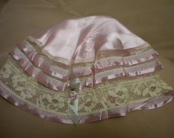 Vintage Satin Night Cap with ribbonwork rose (FFs1115)