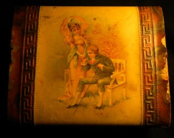 Victorian Print Treasure Box Antique (FFs1161)