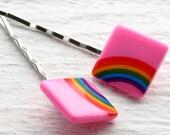 Rainbow Hair Pins - Pink
