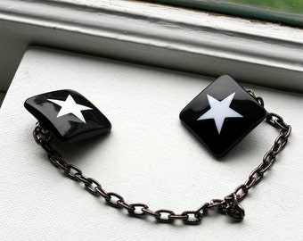 Star Sweater Clips / Sweater Guard / Star Accessories / Black and White / Star Sweater Brooch