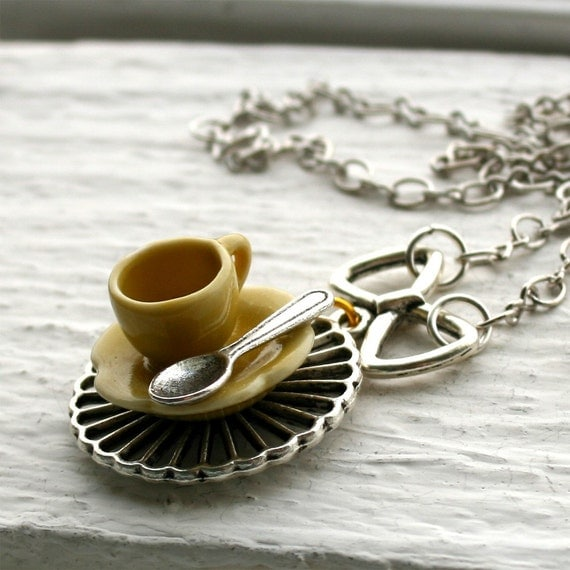 Tea Cup Necklace - Yellow on Silver Chain