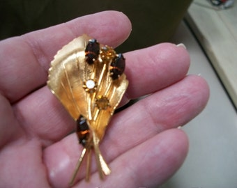 Topaz and Citrine Crystal Brooch Pin
