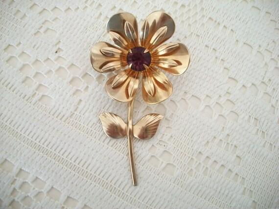 SALE Amethyst Rhinestone Flower Brooch