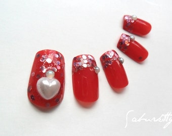 Hearts 3D Nail Art true red faux opal pearl raspberry fake manicures modern french designs artificial acrylic accessories false w/Glue