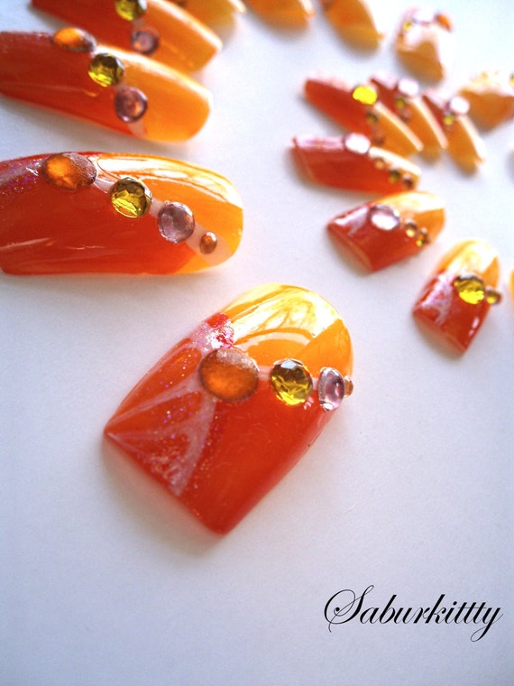 Tangerine Tango 3D Nail Art Burlesque Style orange artificial bold belly dancer accessories fake nails food art