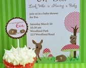 Pink and Brown Woodland Friends Printable Invite