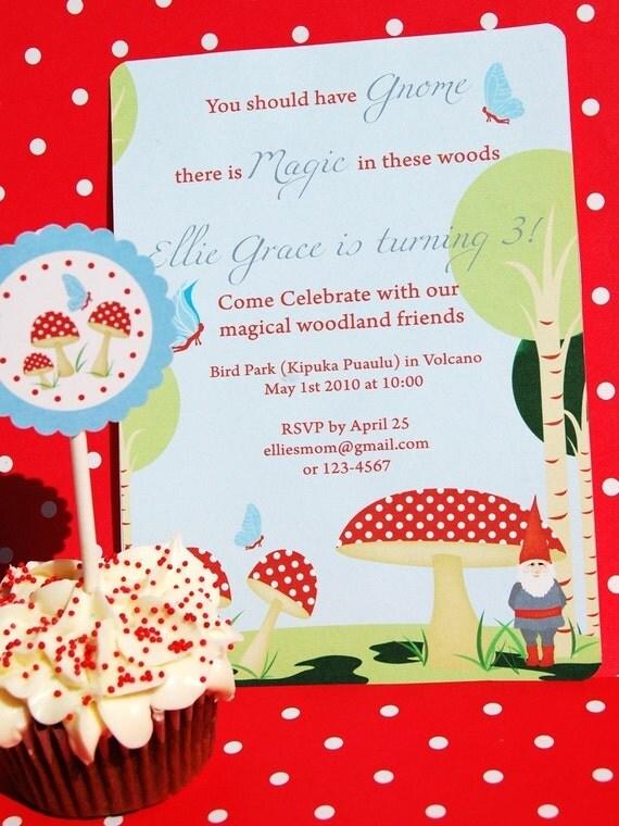 Woodland Magic - Gnomes and Toadstools - Printable Invitation
