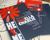 HE LOVES ME wedding invitation sample - front and back