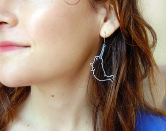 tiny Narwhal Earrings, stainless steel