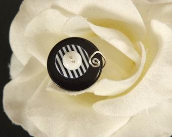 Black, White, and Stripes Ring