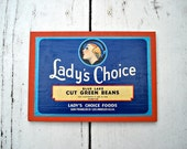 Vintage Green Beans Label - Lady's Choice - Blue Lake - San Francisco - Los Angeles CA