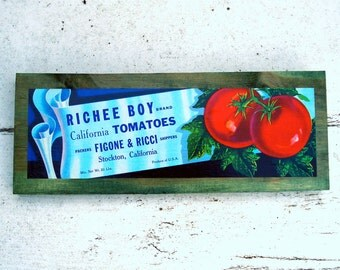 Vintage tomato label decorative sign -  Richee Boy - Stockton CA