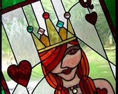 Queen of Hearts Stained Glass Panel