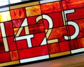 House Numbers in Stained Glass with Contemporary Font 4-Digit