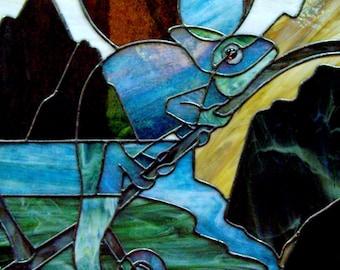 Stained Glass Chameleon Art Panel