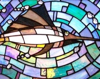 Iridescent Sailfish Stained Glass Panel