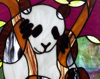 Panda Bear Stained Glass Panel