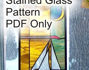 Pattern for Stained Glass Sailboat Day and Night