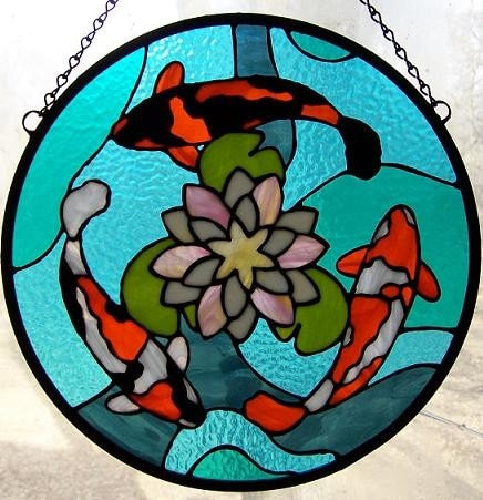 Three Koi Stained Glass Panel