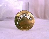 Vintage 1950 Hinged Mirror and Lipstick Case with Floral Pearl Decoration